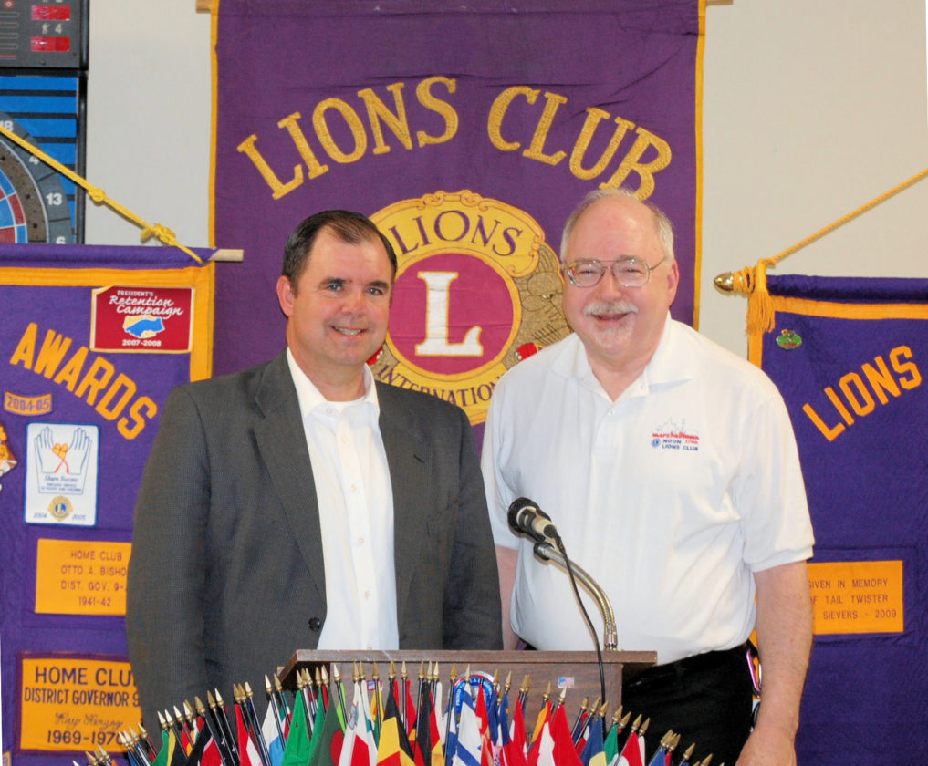 CONTRIBUTED PHOTO Dr. Theron Schutte, left, spoke on the current status of the Marshalltown School System. Noon Lions Program Chairman Alan Thoreson introduced the speaker.