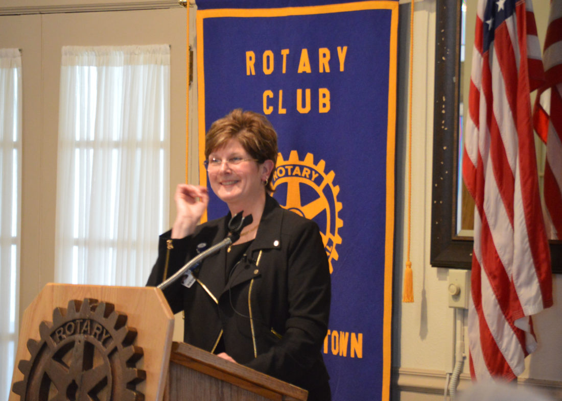 T-R PHOTO BY MIKE DONAHEY  UnityPoint Health Waterloo President and Chief Executive Officer Pam Delagardelle pauses to take a question Tuesday at the Marshalltown Rotary Club weekly meeting at Elmwood County Club. Delagardelle was invited to talk about Central Iowa Healthcare becoming part of UPH-Waterloo.