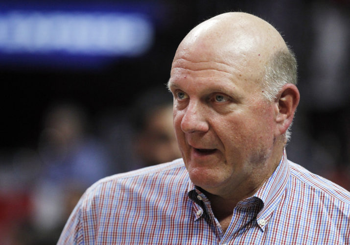 AP PHOTO In this March 24, 2016, file photo, Los Angeles Clippers owner Steve Ballmer walks the sidelines prior to an NBA basketball game against the Portland Trail Blazers in Los Angeles.