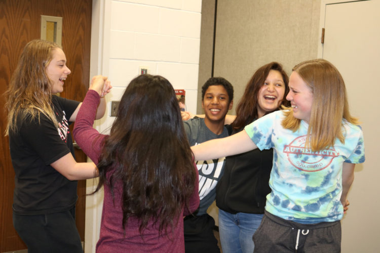 """T-R PHOTO BY ADAM SODDERS """"The human knot"""" was one team-building activity MHS students had a lot of fun doing during Wednesday's MVP Summit. The game is designed to teach cooperation and communication."""