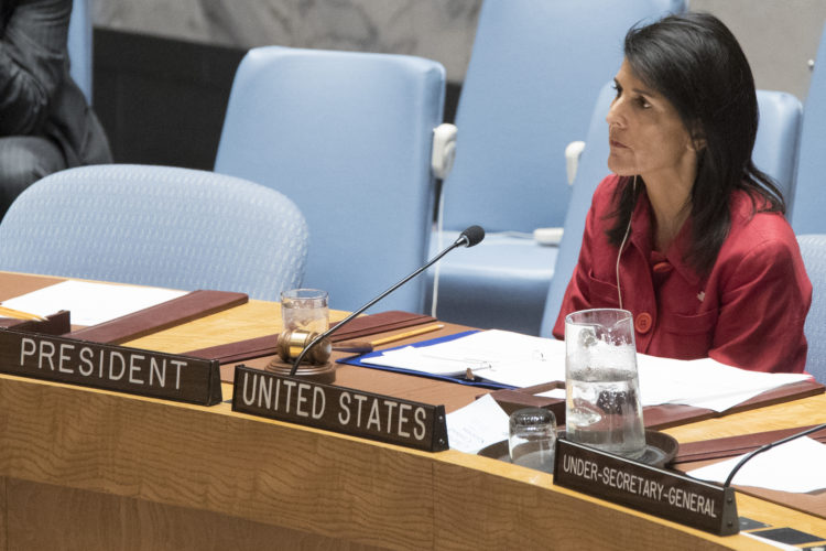 AP PHOTO In this April 7, file photo, United States ambassador to the United Nations Nikki Haley listens during a Security Council meeting at United Nations headquarters.