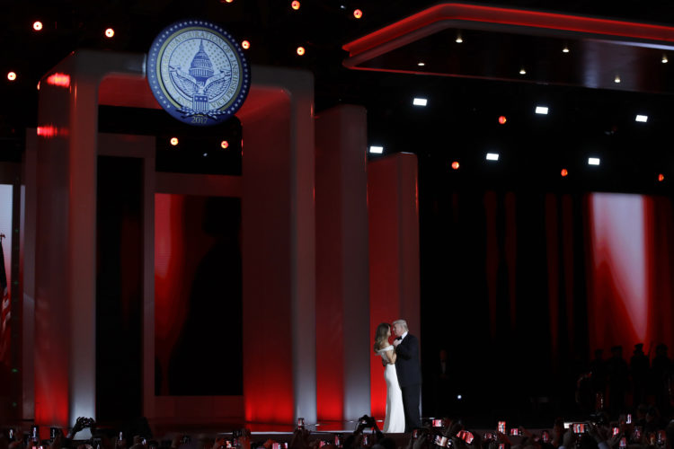 AP PHOTO In this Jan. 20 file photo, President Donald Trump dances with first lady Melania Trump at the Liberty Ball in Washington.  Big money from billionaires, corporations and a roster of NFL owners poured into Donald Trump's inaugural committee in record-shattering amounts, to pull off an event that turned out considerably lower-key than previous inaugural celebrations.