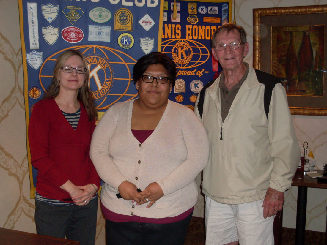 CONTRIBUTED PHOTO Kiwanis P.M. President Kenny Lamb welcomes Joa LaVille, left, and Maria Gonzalez as they bring a program on the Immigrant Allies organization and immigration to the Wednesday meeting.