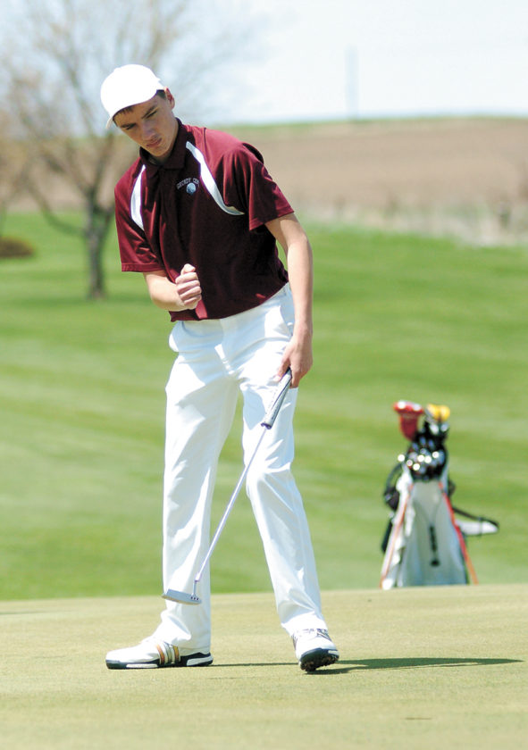 T-R PHOTO BY ROSS THEDE • Grundy Center senior Jesper Holke-Farnam pumps his fist after sinking a birdie putt on the ninth green to finish his round at the Spartan Invite on Saturday at Town & Country Golf Club in Grundy Center. Holke-Farnam shot an even-par round of 72 for medalist honors and Grundy Center won the team title with a 338 score.