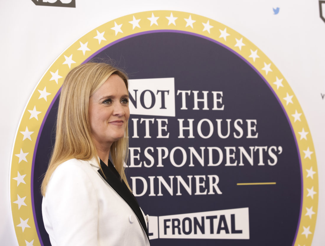 "AP PHOTO Samantha Bee arrives for ""Full Frontal with Samantha Bee's Not the White House Correspondents' Dinner"" at DAR Constitution Hall on Saturday, in Washington."