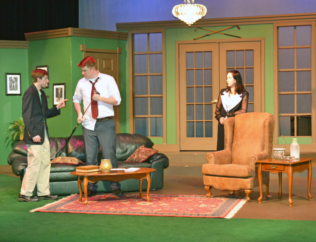 "T-R PHOTO BY SARA JORDAN-HEINTZ A scene from the upcoming Marshalltown Community Theatre's presentation of ""Fox on the Fairway,"" which opens Saturday. Cast members, left to right: Stacy Heil, Scott Lindborg and Amy Van Holland. Additional showtimes are Saturday, May 13 at 7:30 p.m., and May 7 and 14 at 2 p.m."