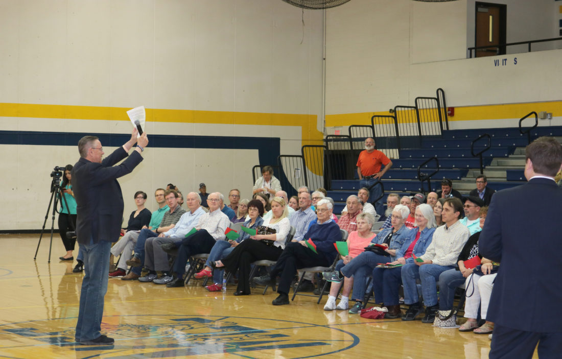 T-R PHOTO BY ADAM SODDERS U.S. Rep. Rod Blum held a town hall-style meeting in Marshalltown with dozens of constituents Thursday afternoon, and discussed his positions on Russia investigations, the AHCA, climate change and more.