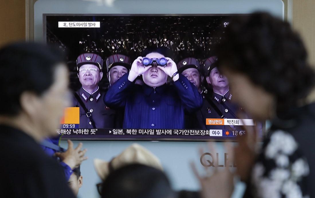 AP PHOTO A TV news program shows a file image of North Korean leader Kim Jong Un at the Seoul Railway Station in Seoul, South Korea, Sunday.