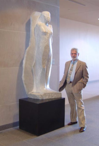 CONTRIBUTED PHOTO Manuel Neri with Escalieta I (1998) in the Gerdin Business Building, Iowa State University. An Iowa Art in State Buildings project for the Gerdin Business Building. In the Art on Campus Collection, University Museums, Iowa State University.
