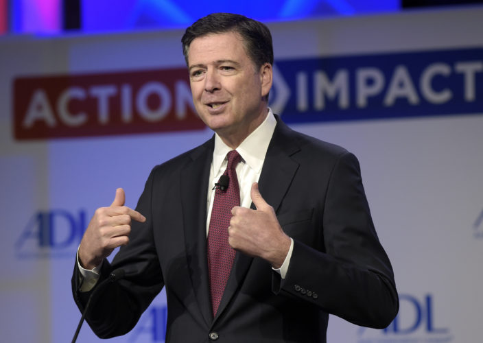 AP PHOTO In this May 8, file photo, then-FBI Director James Comey speaks to the Anti-Defamation League National Leadership Summit in Washington. The White House is disputing a report that President Donald Trump asked Comey to shut down an investigation into ousted national security adviser Michael Flynn.