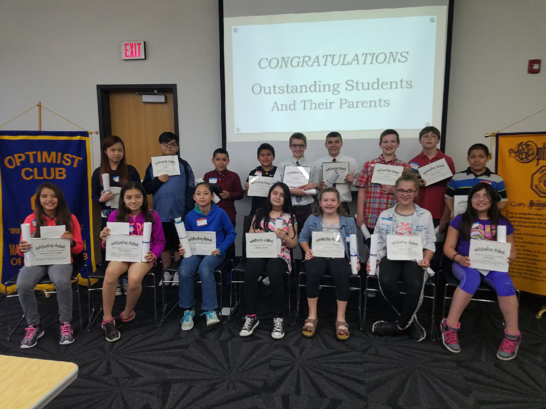 CONTRIBUTED PHOTO Fifth grade students were honored at the Youth Appreciation Luncheon by the Noon Optimists. Pictured front row (left to right): Esmeralda Chavez Gomez; Aylin Gonzalez; Kout Kout Paw; Stephanie Lizarde; Claire Bohan; Layla Buschbom; Naomi Lucht; back row: ThaJMo; Jose Rico; Jose Garcia; Julian Yepez; Jacob Thiessen; Jacob Gudith; Ian Meyer; Johnathan Edel; Isaac Rico Nunez. Absent (not pictured): Alendra Ramirez.