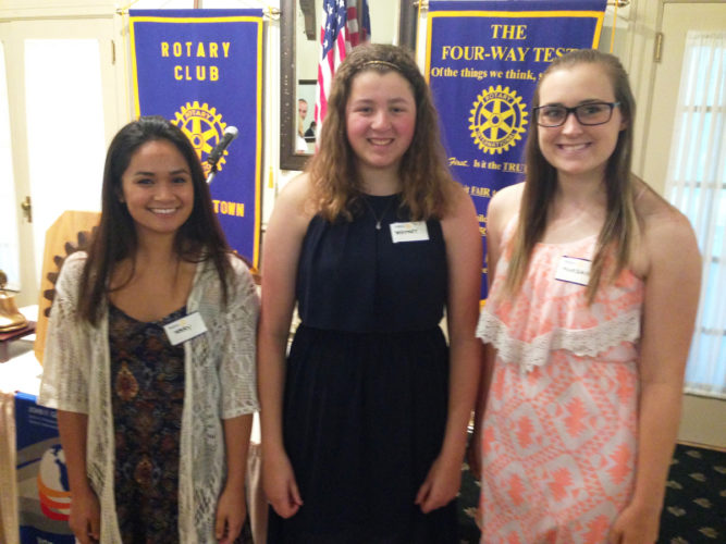 CONTRIBUTED PHOTO The Rotary Club welcomed and recognized the 2017 recipients of Marshalltown Rotary Foundation scholarships to its weekly luncheon. Pictured are Mary Drummer, Whitney Canaday and Morgan Van Staalduine.