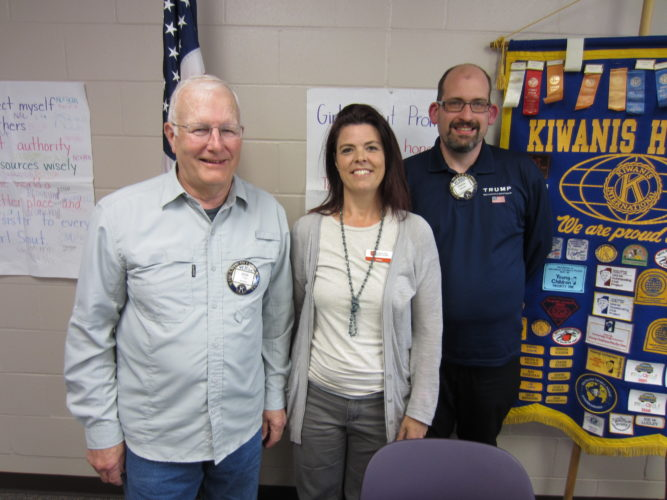 CONTRIBUTED PHOTO Matins Kiwanis President Don Feld, left, and program chair Frank Moran welcome Casey Wendt, social worker involved with Pathway to Hope at the Salvation Army.