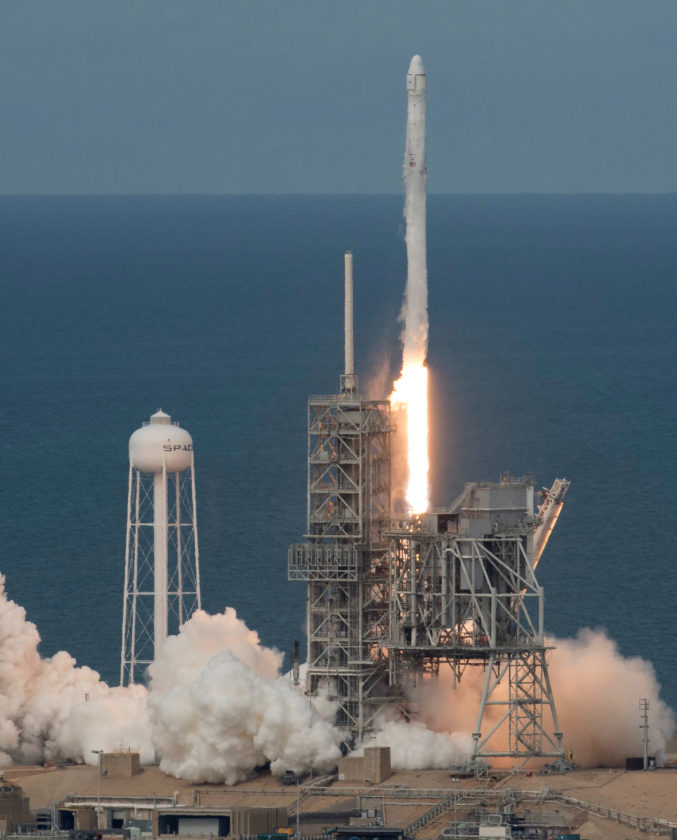 AP PHOTO In this photo provided by NASA, the SpaceX Falcon 9 rocket, with the Dragon spacecraft onboard, launches from pad 39A at NASA's Kennedy Space Center in Cape Canaveral, Fla, Saturday.  SpaceX launched its first recycled cargo ship to the International Space Station on Saturday, yet another milestone in its bid to drive down flight costs.