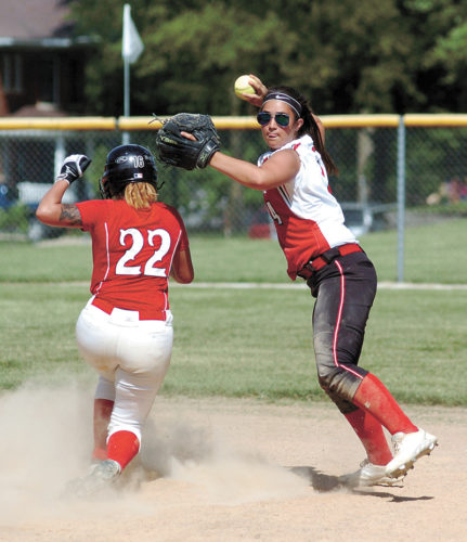 T-R PHOTO BY ROSS THEDE • North Tama sophomore second baseman Chloe Feisel, right, gets the force-out of Lisbon's Danaisa Brown (22) during the fourth inning of the championship game at the Gladbrook-Reinbeck Tournament on Saturday in Gladbrook.