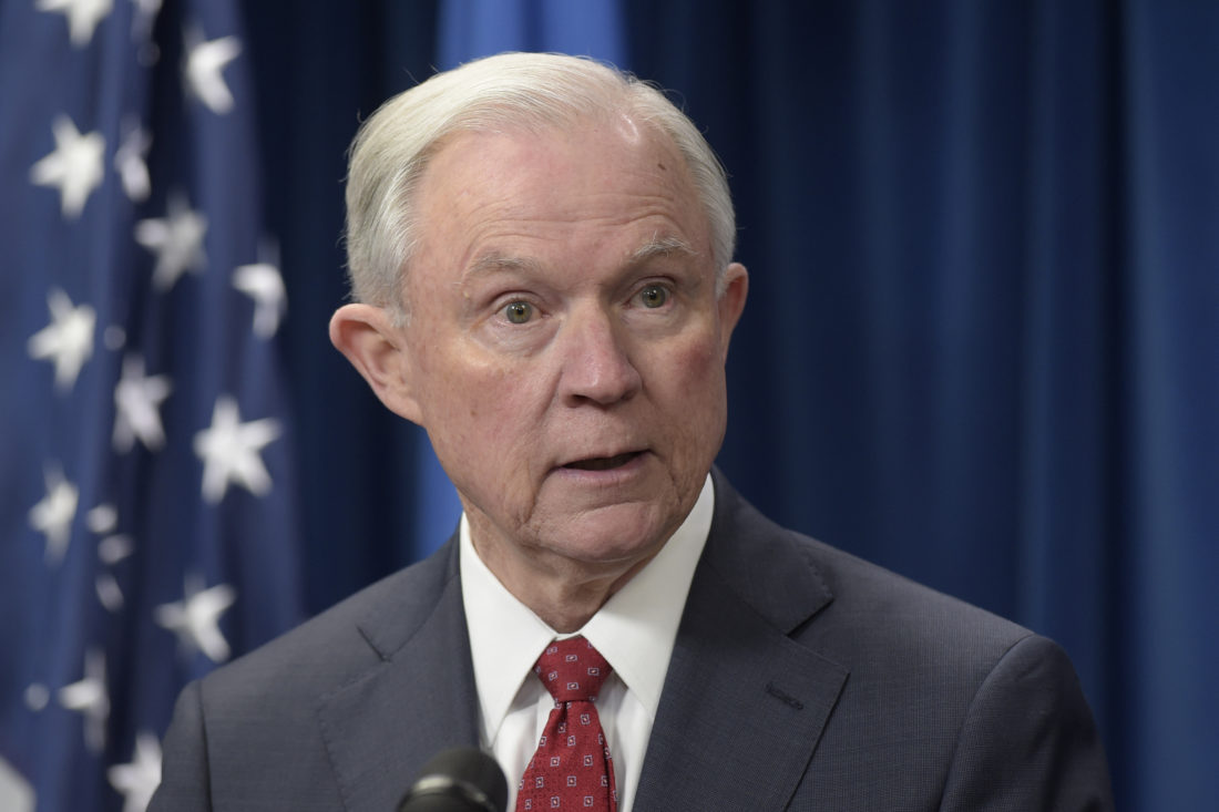 AP PHOTO In this March 6, file photo, Attorney General Jeff Sessions speaks at the U.S. Customs and Border Protection office in Washington.