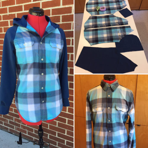CONTRIBUTED PHOTO Displayed is an example of taking a man's shirt and repurposing it into a hoodie. This type of sewing challenge will be explored at the Central Iowa Sewing Guild from 9-11 a.m. on June 17 in Huxley.
