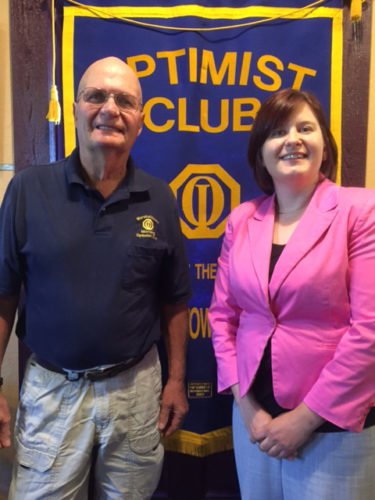 CONTRIBUTED PHOTO Morning Optimist Club Co-President Bing McHone welcomes City Administrator Jessica Kinser as the guest speaker at a recent club meeting. Kinser provided updates to several issues that currently concern the City of Marshalltown, such as use of local option sales tax funds, the police and fire department building and enhancing the features of the north side of the city.
