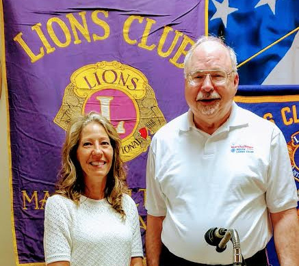 CONTRIBUTED PHOTO Anne Selness, director of Marshalltown's Parks and Recreation Department, told the club about the many activities and facilities the department oversees. Noon Lion's Club President Rev. Wally Paige welcomed Selness to the meeting.