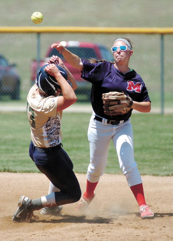 T-R PHOTO BY ROSS THEDE • Marshalltown second baseman Bridget Carroll, right, throws to first to try to complete a double play against Sumner-Fredericksburg during the BCLUW Comet Softball Invitational Tournament on Saturday in Conrad. Sumner-Fredericksburg's Krayton Allen, left, was out on the play. The Bobcats beat the Cougars, 4-2, for their first win.