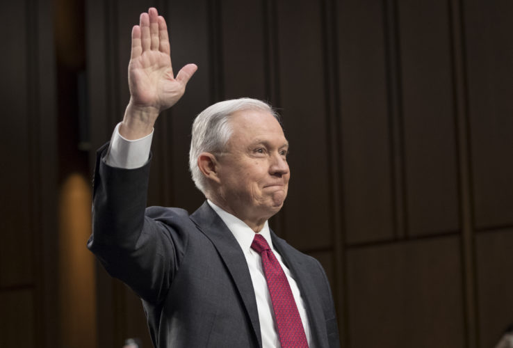 AP PHOTO Attorney General Jeff Sessions is sworn-in on Capitol Hill in Washington, Tuesday, prior to testifying before the Senate Intelligence Committee hearing about his role in the firing of James Comey, his Russian contacts during the campaign and his decision to recuse from an investigation into possible ties between Moscow and associates of President Donald Trump.