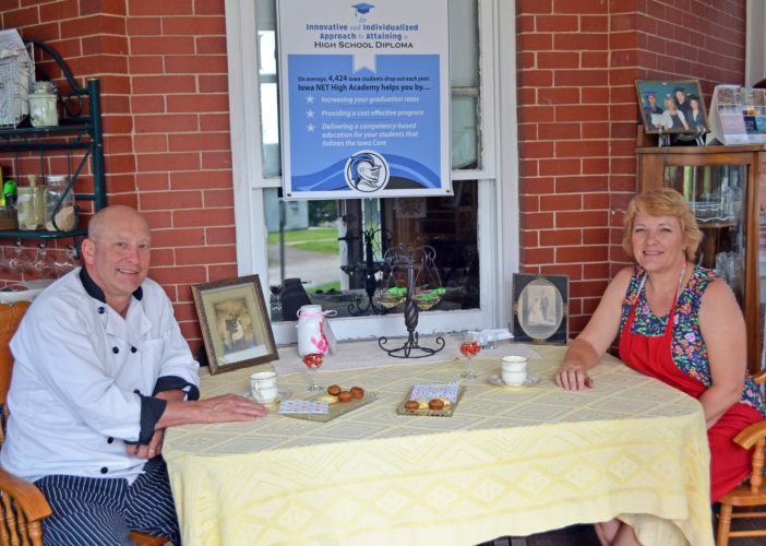 T-R PHOTO BY SARA JORDAN-HEINTZ Ivadel Ruth's Tea Room, located at 607 Center St. in Union, is owned and operated by the home's owner, Dr. Cynthia Joy Knight, right. The tea room operates as free-will donation. Friend, Chef John Benson, left, will provide free cooking demonstrations to tea room guests. Money raised benefits NET High Academy, which helps high school drop-outs earn a high school diploma using flexible and innovative programming.
