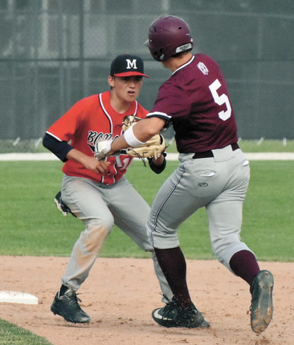T-R PHOTO BY ANNE VANCE • Marshalltown shortstop Dylan Eygabroad, left, tags out Dowling Catholic's Robbie McCargar (5) on a play at second base during the fourth inning of Wednesday's opening game at the MHS diamond. McCargar was thrown out of the game after making hard contact with Eygabroad, but the Class 4A No. 3 Maroons won both games of the CIML Iowa Conference doubleheader.