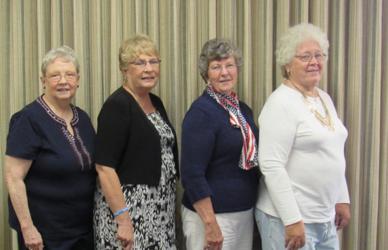 CONTRIBUTED PHOTO NSDAR installs new officers The Spinning Wheel Chapter NSDAR met June 14 at Fisher Community Center for their annual Flag Day potluck. Guest speaker was Gary Thompson from Early May. State Organizing Secretary Marlys Ankrum installed new officers:  Pauline Smith, librarian; Diane Hobson, treasurer; Janice Juchems, registrar and Karen Shipley-Cooper, vice regent. The next meeting will be in September.