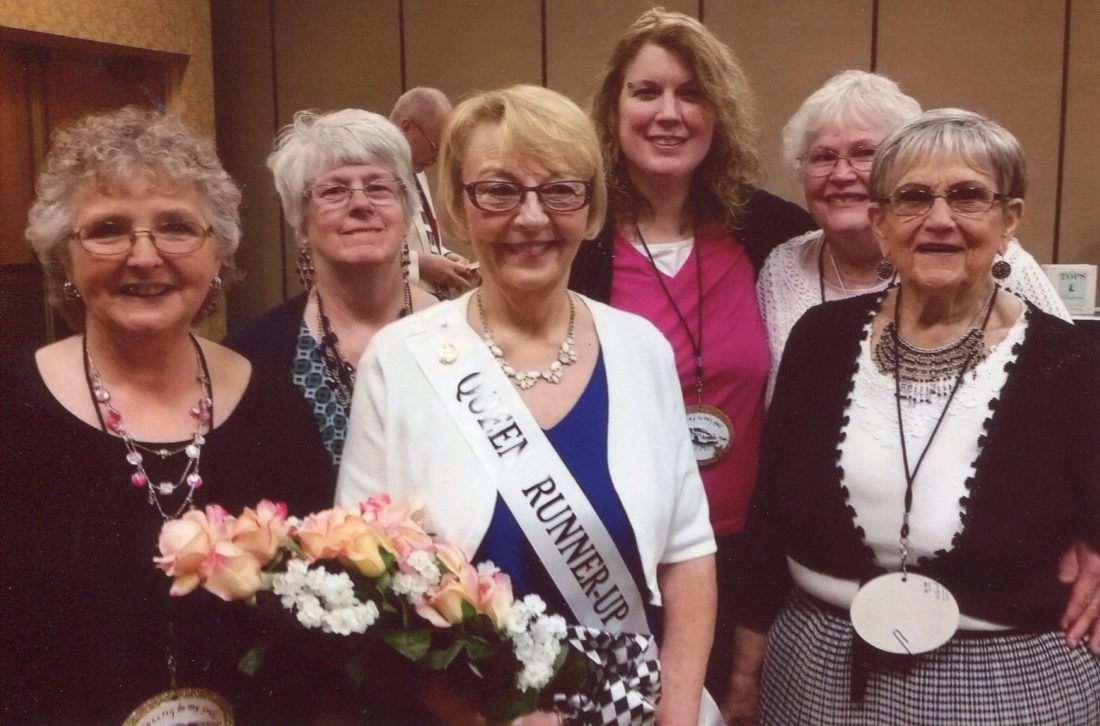 CONTRIBUTED PHOTO Members of the TOPS 1440 attended the State Recognition Days in Cedar Rapids and witnessed Kathy W. honored at the Runner-up State Queen. Pictured from left to right front row are: Cheryl M., Kathy W., and Barb M; back row: Judy G., Erin S. and Kathy S.