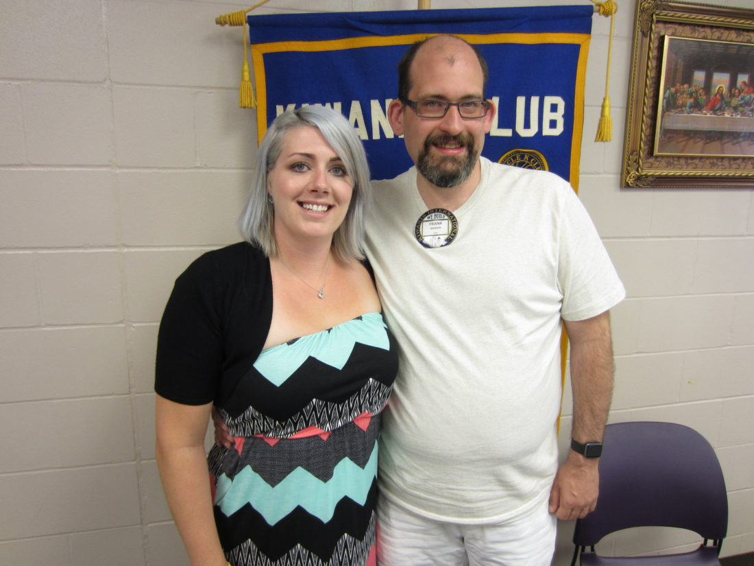 CONTRIBUTED PHOTO Matins Kiwanis Program Chair Frank Moran welcomed Heidi Draisey from the YMCA-YWCA who presented the LIVESTRONG program to the group.