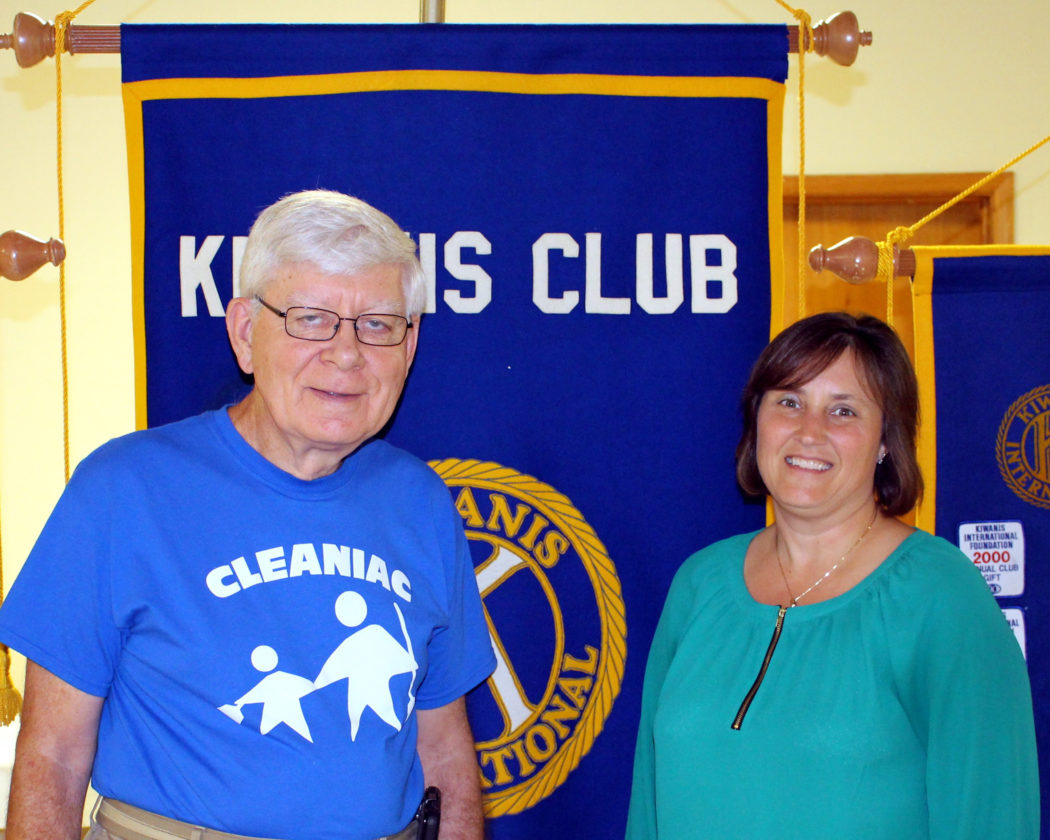 """CONTRIBUTED PHOTO Dan Engesser, left, and Alyce Quastad presented a program on the history of Cleaniac and how it operates today to the Kiwanis """"Noon"""" members."""