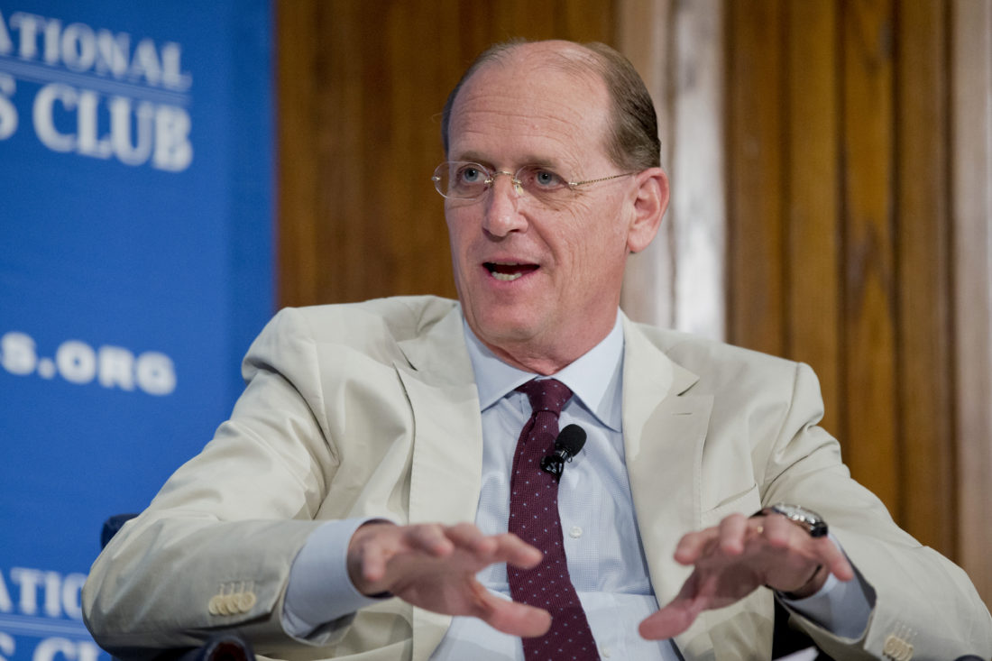 FILE - In this Friday, May 15, 2015, file photo, Richard Anderson speaks during a panel discussion at the National Press Club in Washington. America's railroad is counting on an airline industry veteran to lead it through a summer of reckoning for congestion and crumbling infrastructure at its busiest station. On Monday, June 26, 2017, Amtrak named former Delta chairman Richard Anderson as its new president and CEO. He'll take charge of the government-owned railroad July 12, as it rushes to make repairs at New York's Penn Station. (AP Photo/Manuel Balce Ceneta, File)