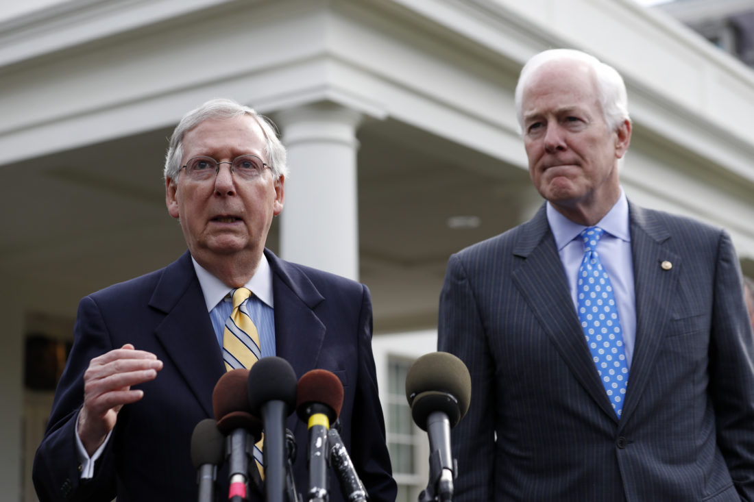 AP PHOTO Senate Majority Leader Mitch McConnell of Ky., left, and Senate Majority Whip Sen. John Cornyn, R-Texas speak with the media after they and other Senate Republicans had a meeting with President Donald Trump at the White House, Tuesday, in Washington.