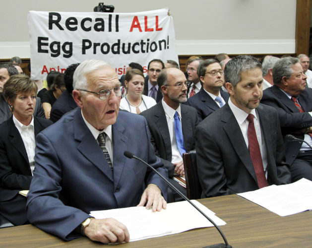 "AP PHOTO In this Sept. 22, 2010, file photo, Wright County Egg owner Austin ""Jack"" DeCoster, left, and his son, CEO Peter DeCoster, testify before the House Oversight and Investigations subcommittee hearing on ""The Outbreak of Salmonella in Eggs"" in Washington."