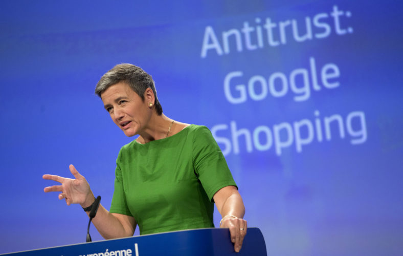 AP PHOTO European Union Commissioner for Competition Margrethe Vestager speaks during a media conference at EU headquarters in Brussels on Tuesday. The European Union's competition watchdog has fined internet giant Google over its online shopping service.