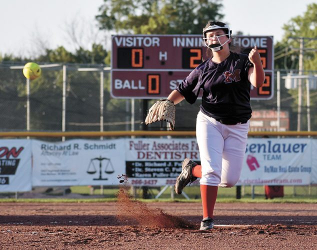 T-R PHOTO BY THORN COMPTON • Marshalltown reliever Kailee Pollard releases a pitch during the second inning of the Bobcats' 11-1, five-inning loss to Des Moines East on Thursday in Des Moines. The loss eliminates Marshalltown from the Class 5A Region 8 Tournament.
