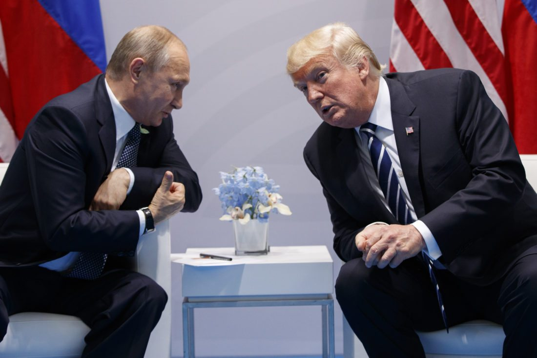 AP PHOTO President Donald Trump speaks during a meeting with Russian President Vladimir Putin at the G20 Summit at the G20 Summit, Friday, in Hamburg.