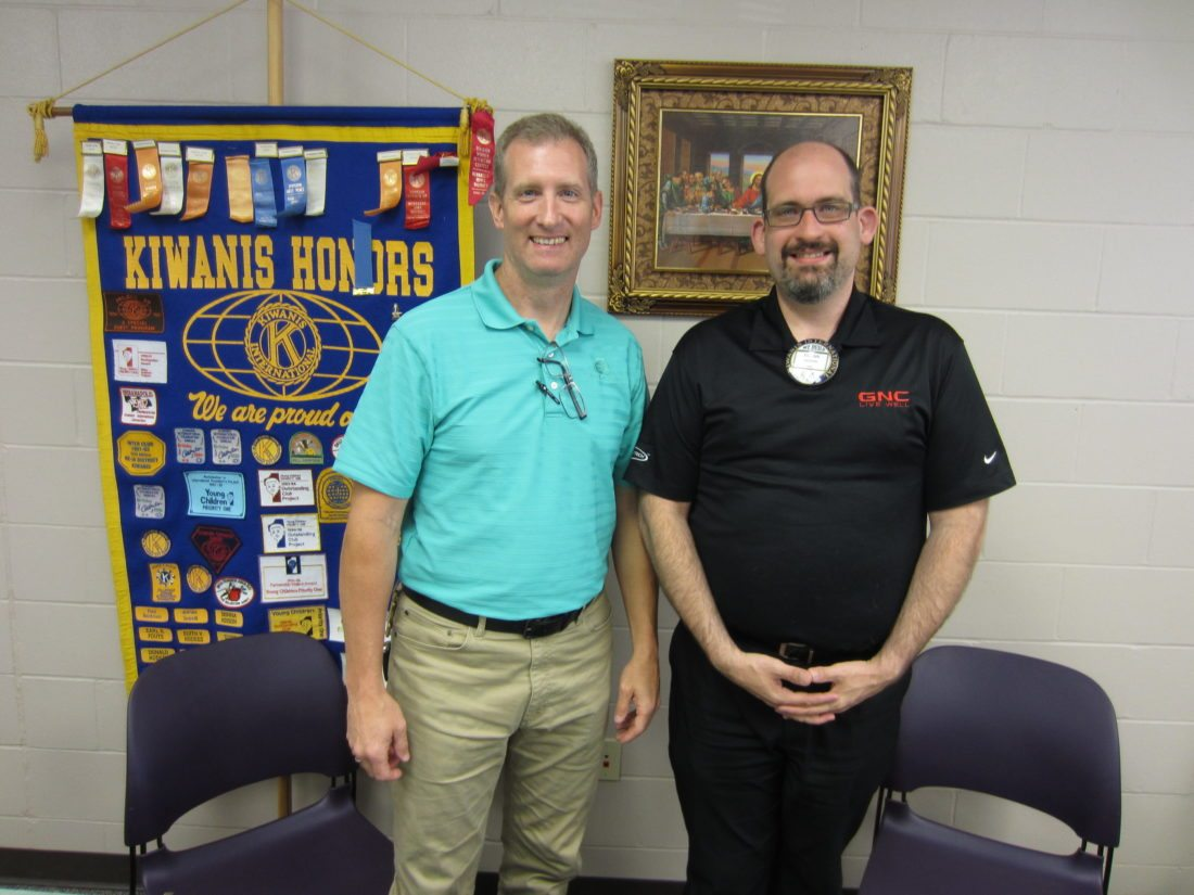 CONTRIBUTED PHOTO Program Host for Matins Kiwanis, Frank Moran, right, welcomes Rob Talbot, CEO of Quakerdale, as he brings the history and philosophy of Quakerdale to the club.