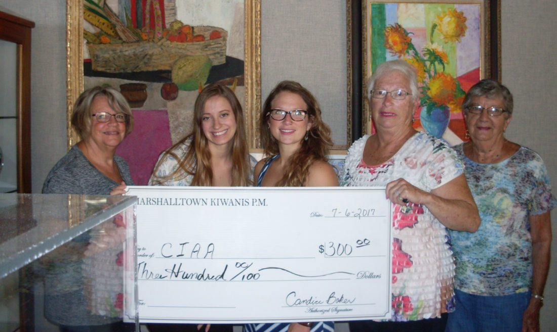 CONTRIBUTED PHOTO Kiwanis P.M. donated $300 to the Central Iowa Art Association to help with the costs of art camps. Pictured from left are: Martha Edgeton, Katelyn Zatovich and Keeley Weeks, of the CIAA; Rose Wagner and Ann Kent.