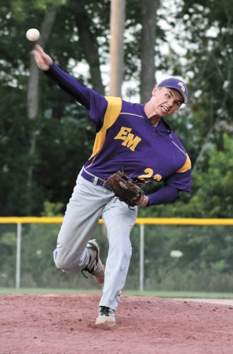T-R PHOTO BY THORN COMPTON • Mustangs pitcher Justin Ridout slings in a fastball during East Marshall's 8-2 win over BCLUW on Saturday to advance to the next round of districts. Ridout went 6 1/3 innings giving up only one run off four hits and fanning 11 Comets.
