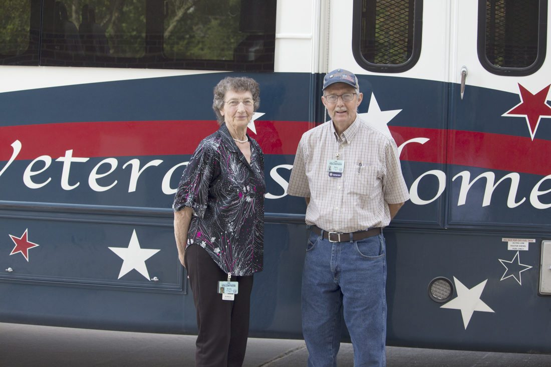 T-R PHOTO BY MIKE BURVEE Doris Lemker and Gary Fulton have logged thousands of volunteer hours and made numerous activities possible for hundreds of veterans who reside at the Iowa Veterans Home in Marshalltown.