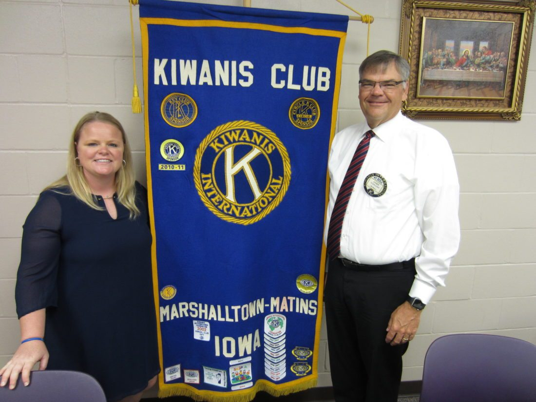 CONTRIBUTED PHOTO Matins Kiwanis Program Chair Andy Schwandt introduced Kathleen Brown, director of athletics at Marshalltown Community College who gave a program on the different dynamics that make up MCC athletics.