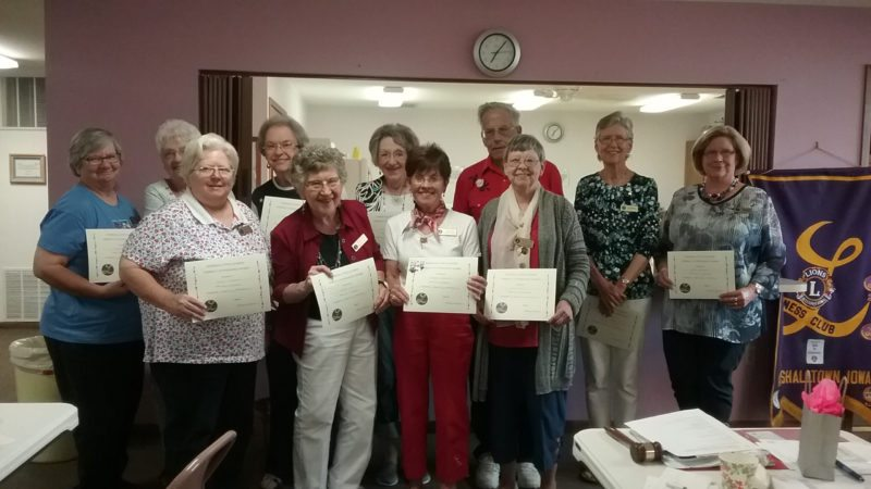 CONTRIBUTED PHOTO Lioness members receiving perfect attendance certificates were: Dianne Maile (26 years), Dianna Freiboth (16 years), Charlotte McGinty (16 years), Edith Podhajsky (14 years), Dessa Hattenfield (5 years), Margaret Kroener (5 years), Lou Benskin (4 years), Mary Bryant (2 years), Dorothy Cahill (2 years), Bob Maile (2 years), Kathy Sievers (2 years). In addition, five-year perfect attendance pins were awarded to Hattenfield and Kroener.
