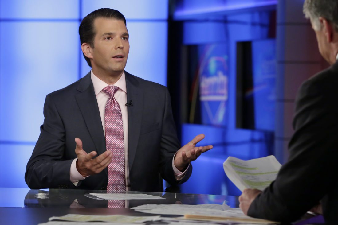 AP PHOTO In this July 11, file photo, Donald Trump Jr., left, speaks in New York. A lawyer for a Russian developer says a company representative was the eighth person at a Trump Tower meeting brokered by Donald Trump Jr. during the campaign.