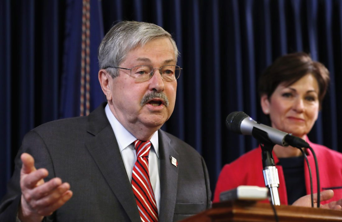 AP PHOTO In this May 22, file photo, then-Gov. Terry Branstad, accompanied by then-Lt. Gov. Kim Reynolds, speaks during his weekly news conference at the Statehouse in Des Moines. Newly released records show that public employees in Iowa have been fired in recent months for misconduct such as theft, fraud and student mistreatment.