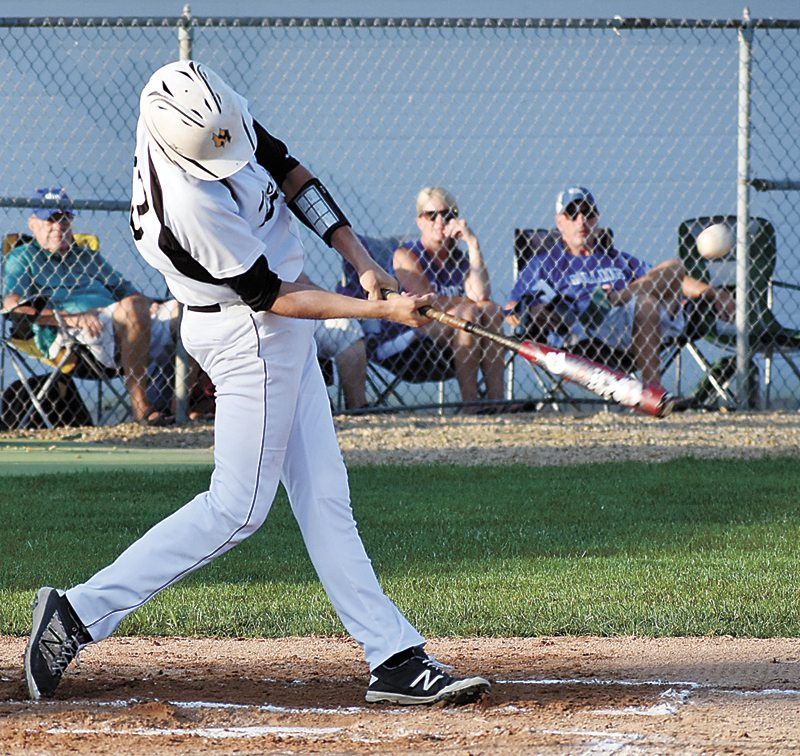 T-R PHOTO BY THORN COMPTON • West Marshall senior Cody Mead sends the ball into left field for his first hit of the night against Van Meter on Tuesday. Mead went 2-for-3 with a single in the second and a double in the sixth.