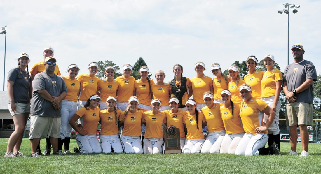 T-R PHOTO BY THORN COMPTON • The West Marshall softball team poses with its trophy after winning the seventh-place match on Wednesday over Boyden-Hull/Rock Valley in the Class 3A bracket of the Iowa Girls' High School State Softball Championships.