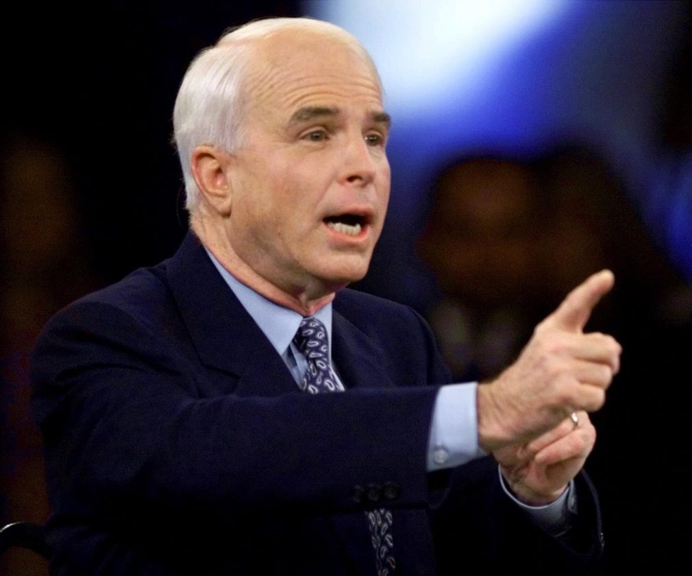 AP PHOTO In this Feb. 15, 2000, file photo, then-Republican presidential candidate Sen. John McCain, R-Ariz., responds to a question during the Republican presidential debate sponsored by the South Carolina Business and Industry Political Education Committee, in Columbia, S.C.