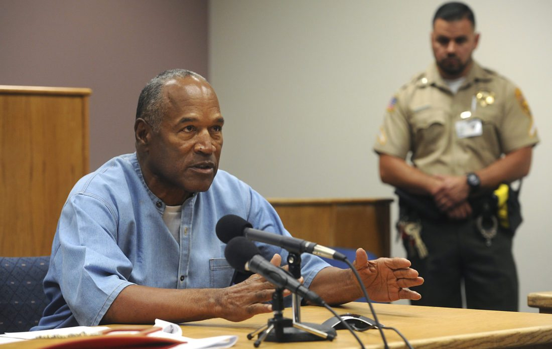 AP PHOTO Former NFL football star O.J. Simpson appears via video for his parole hearing at the Lovelock Correctional Center in Lovelock, Nev., on Thursday.
