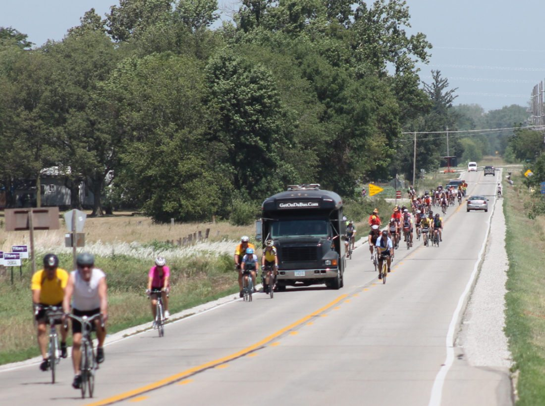 T-R FILE PHOTO  From this July 26, 2012 file photo, RAGBRAI XL (40) riders and vehicles are pictured on Highway 330 near Marietta. Marshalltown hosted RAGBRAI in 2004 and twice previously.